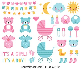 Baby boy and girl design elements and decoration