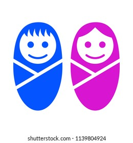 Baby boy and girl face icon symbol sign – stock vector