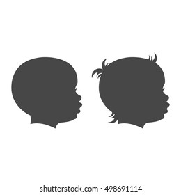 Baby boy and baby girl face profile isolated vector set on the white background