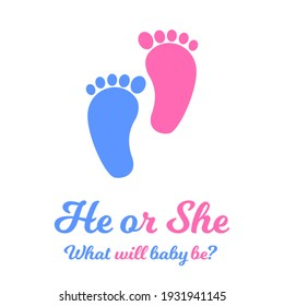 Baby boy and girl footprints, blue and pink colors. Gender reveal party invitation card or banner. He or she concept. Vector flat illustration.