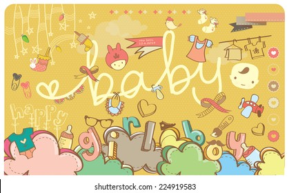 Baby Boy And Girl Stuff Accessories Cartoon Drawing