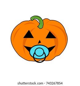 baby boy halloween pumpkin with soother