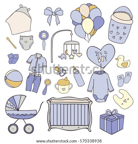 7269dba65 Royalty-free stock vector images ID: 570338938. Baby boy hand drawn doodle  set of elements. Baby shower and newborn things vector icons - Vector