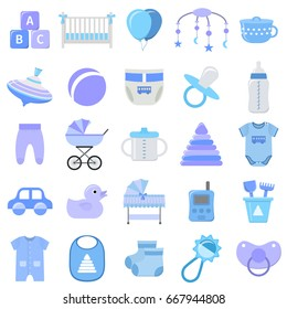 Baby boy icons set. Vector. Baby shower blue symbols isolated on white background. Collection template elements for newborn kids in flat design. Colorful illustration