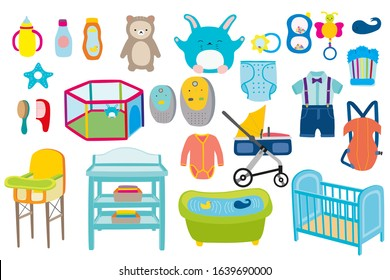 Baby boy kid kit vector illustration. Babies toys, clothes and bath newborn care collection. Babyboy feed, play, dress and carriage cartoon items set flat style on white background.