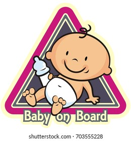 baby boy on board, icon at frame, vector icon