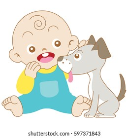 Baby boy playing with dog.