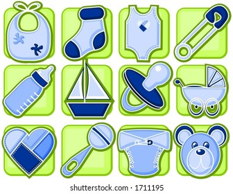 Baby boy related items in icon style