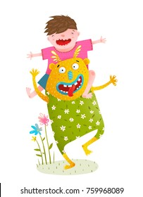 Baby Boy Riding Imaginary Monster. Fun colorful teasing cartoon for kids. Vector illustration.