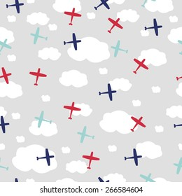 Baby boy seamless pattern with planes
