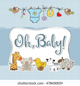baby boy shower card with animals, vector format
