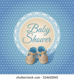 Baby boy shower card. Arrival card with place for your text. Blue