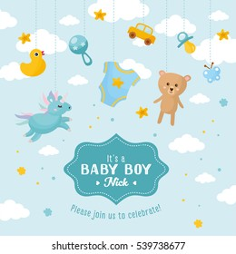 Baby Boy Shower Card. Invitation Template With Cute Toys, Place For Your  Text.