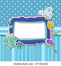 Baby boy shower card template. Arrival poster with place for your text.