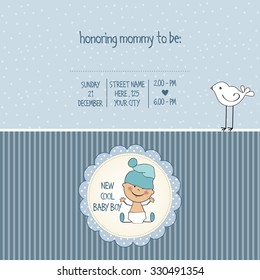 baby boy shower card, vector eps10
