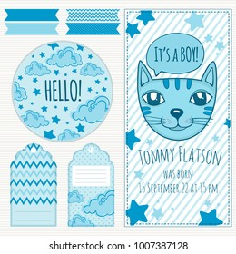 Baby boy shower invitation card template vector illustration. Hand draw.
