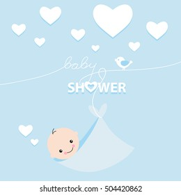 Baby Boy Shower Invitation Card Design. Vector illustration. For boys. Blue.