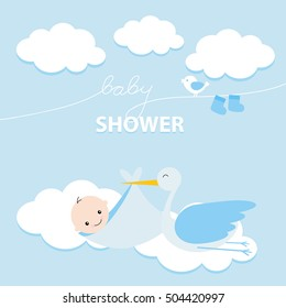 Baby Boy Shower Invitation Card Design. Vector illustration. For boys. Blue.
