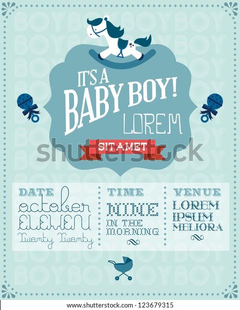 baby boy baby shower invitation card template vector/illustration