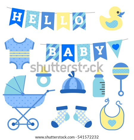 Baby Boy Shower Object Clip Art Stock Vector Royalty Free