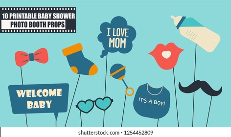 Baby boy shower party photo booth props vector elements. Illustration with baby bottle,  moustache, rattle for taking funny photos