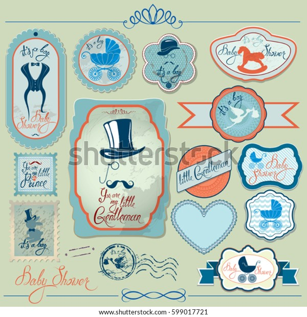 Baby boy shower set  in retro style. Calligraphic text You are my little gentleman, bow tie, hat and mustache. Vintage elements for invitation, card, etc.