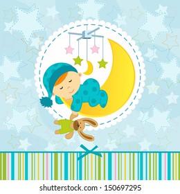 baby boy sleeping - vector illustration