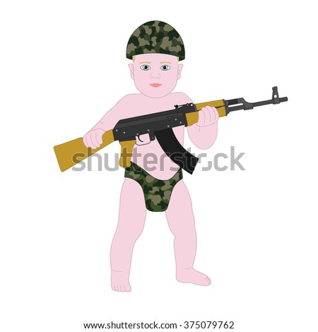 c2aed6d0a Baby Boy Soldier Diapers Funny Cartoon Stock Vector (Royalty Free ...