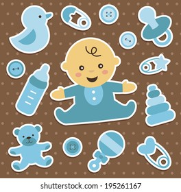 baby boy stickers collection. vector illustration