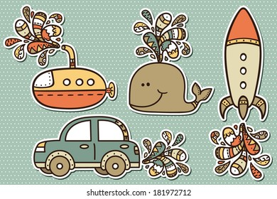 baby boy stickers. Vector illustration of transportation stickers for babyshower