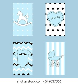 Baby boy stuff cards and patterns on the blue  background.