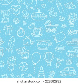 baby boy toys seamless pattern. vector outline seamless pattern for baby boy with toys for background, textile, baby shower