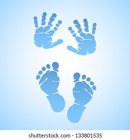 Baby boy vector foot prints and hand prints