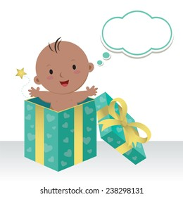 Is a baby boy. Wonderful sweet gift. Life is a precious gift. Cute baby boy in a gift box with thinking bubble.