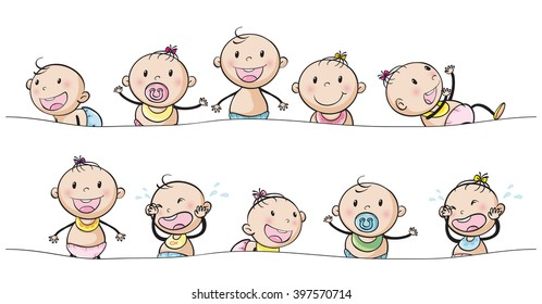 Baby boys and girls with facial expressions illustration