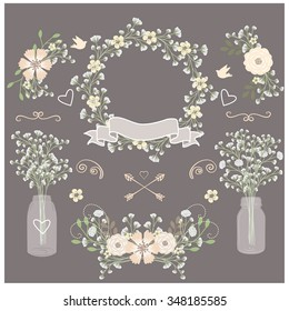 Baby breath / Mason jar / Wedding invitation element / Flower
