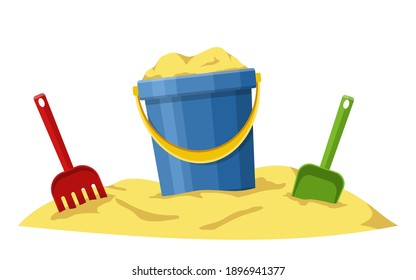 Baby bucket, spade and rake in sand isolated on white background. Toys set for children sandbox and playground, little bucket and shovel. Vector illustration