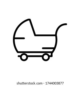 Baby, buggy, carriage, perambulator icon with outline style vector for your web design, logo, UI. illustration.