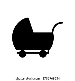 Baby, buggy, carriage, perambulator icon with glyph style vector for your web design, logo, UI. illustration.