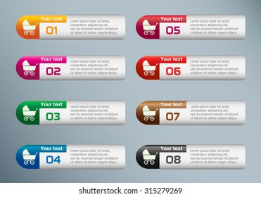 Baby buggy and marketing icons on Infographic design template.