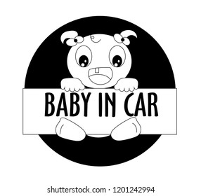 The baby in car