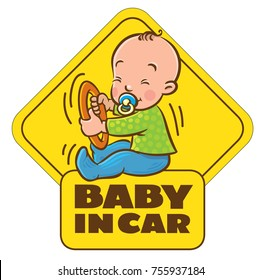 Baby in car. Funny small child with dummy. Boy or girl with the ring, like a driver with steering wheel. The sticker on the back window of the car. Children vector illustration with text