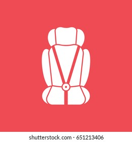 Baby Car Seat Flat Icon On Red Background