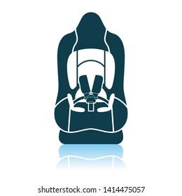 Baby Car Seat Icon. Shadow Reflection Design. Vector Illustration.