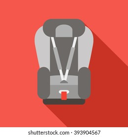 Baby car seat icon. Vector illustration of a modern flat. Icon isolated with shadow