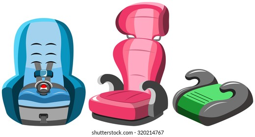 Baby Car Seats Collection Isolated