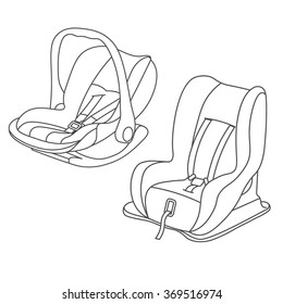 baby car seats set line drawing vector