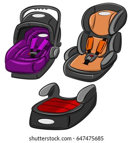 Baby car seats vector set. Cartoon illustration isolated on white background. Child safety seats group 0, 0+, 1, 2 and 3.
