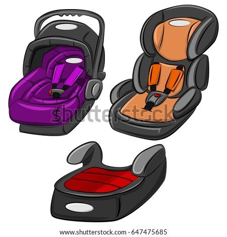 Baby Car Seats Vector Set Cartoon Illustration Isolated On White Background Child Safety