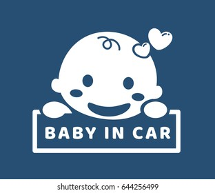 Baby in car. Sticker. Flat design.